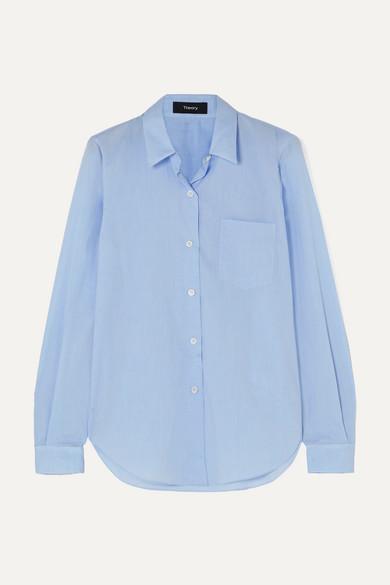 THEORY | Theory - Perfect Cotton Shirt - Light Blue | Goxip
