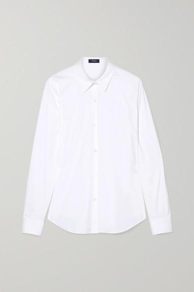 THEORY | Theory - Tenia Stretch Cotton-Blend Poplin Shirt - White | Goxip