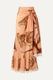Johanna Ortiz Tropical Agitations wrap-effect ruffled printed cotton-voile maxi skirt