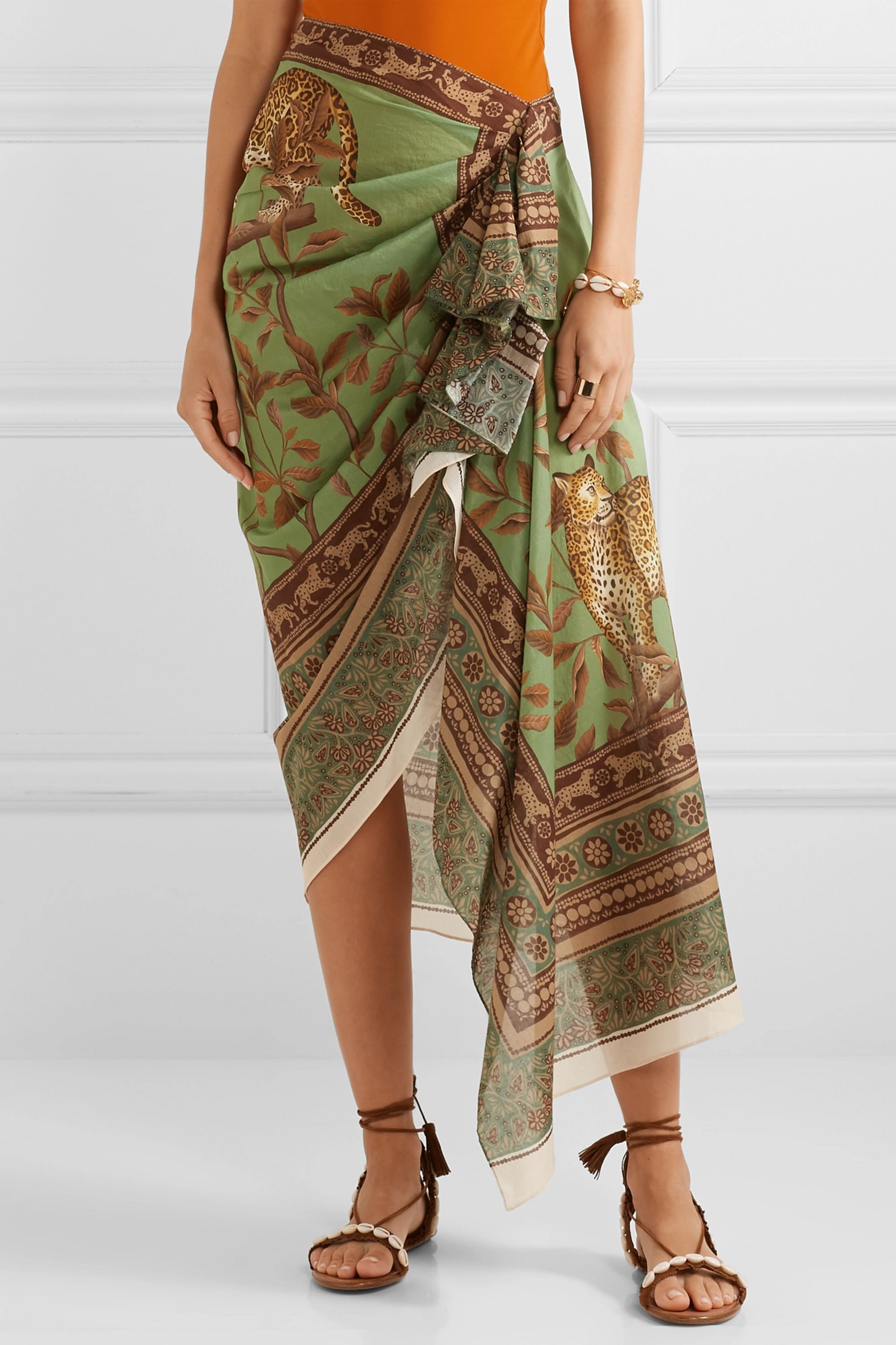 Johanna Ortiz Sheer Magnitude wrap-effect ruffled printed cotton-voile midi skirt