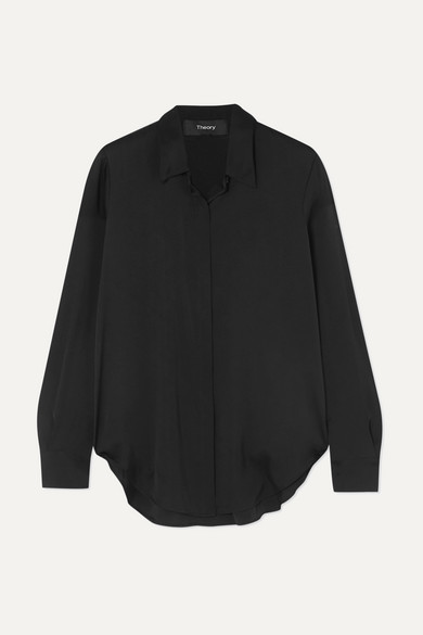 THEORY | Theory - Sunaya Stretch-Silk Shirt - Black | Goxip