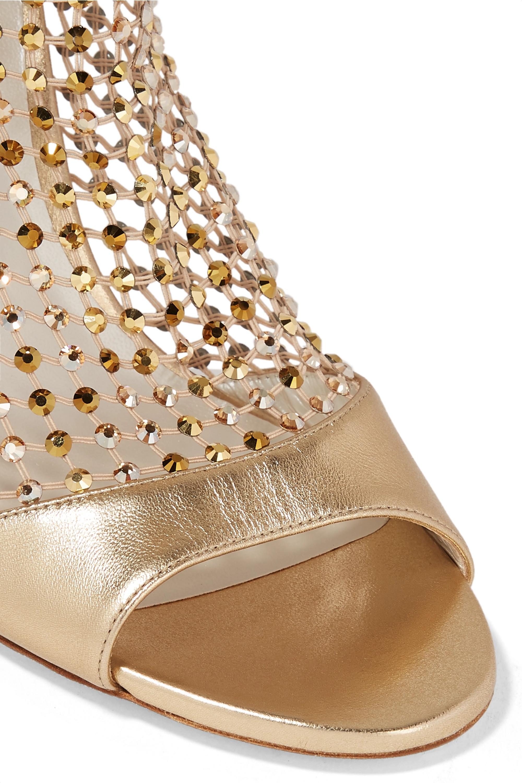 René Caovilla 水晶缀饰网布金属感皮革凉鞋