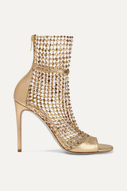 René Caovilla Crystal-embellished mesh and metallic leather sandals