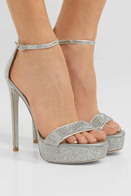 René Caovilla Celebrita 水晶缀饰缎布防水台凉鞋