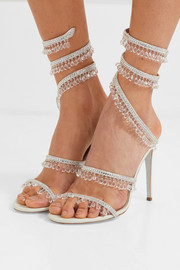 Cleo embellished metallic satin and leather sandals