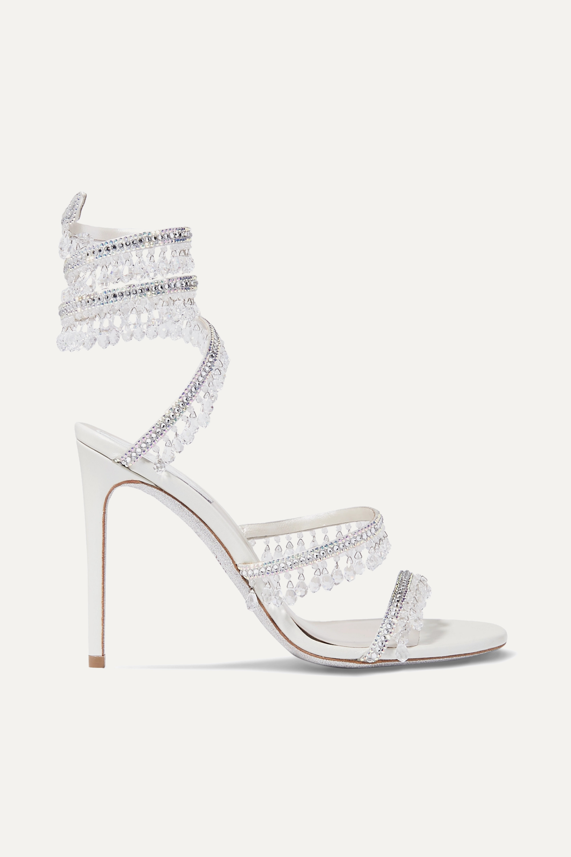 René Caovilla Cleo embellished metallic satin and leather sandals