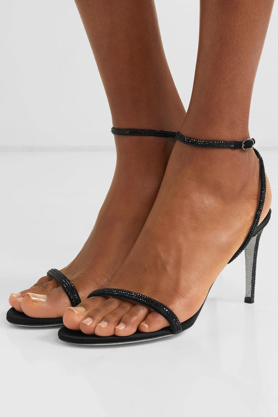 René Caovilla 水晶缀饰缎布凉鞋