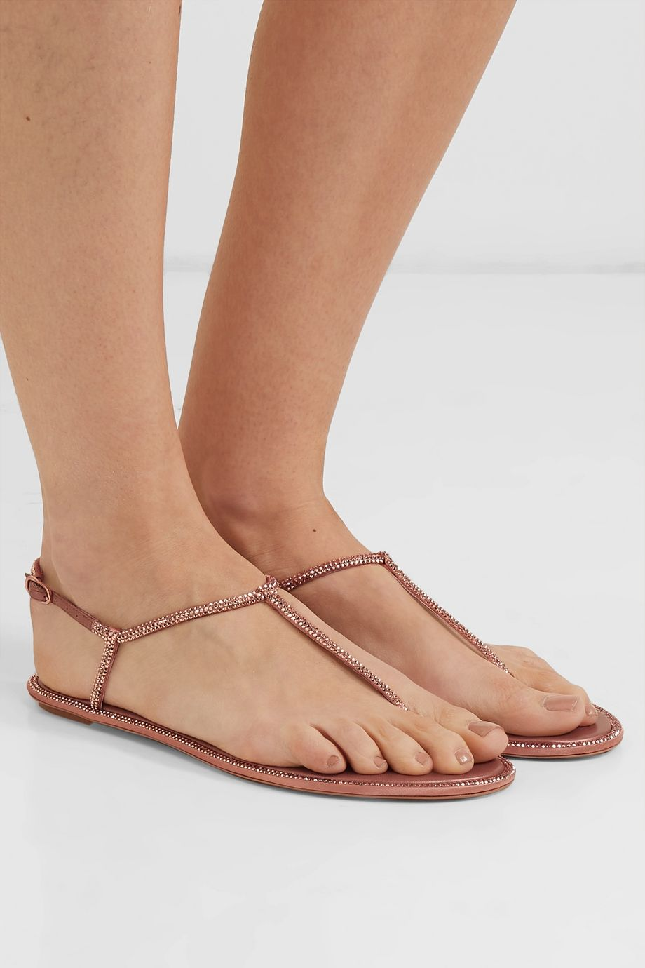 René Caovilla Diana crystal-embellished leather and satin sandals