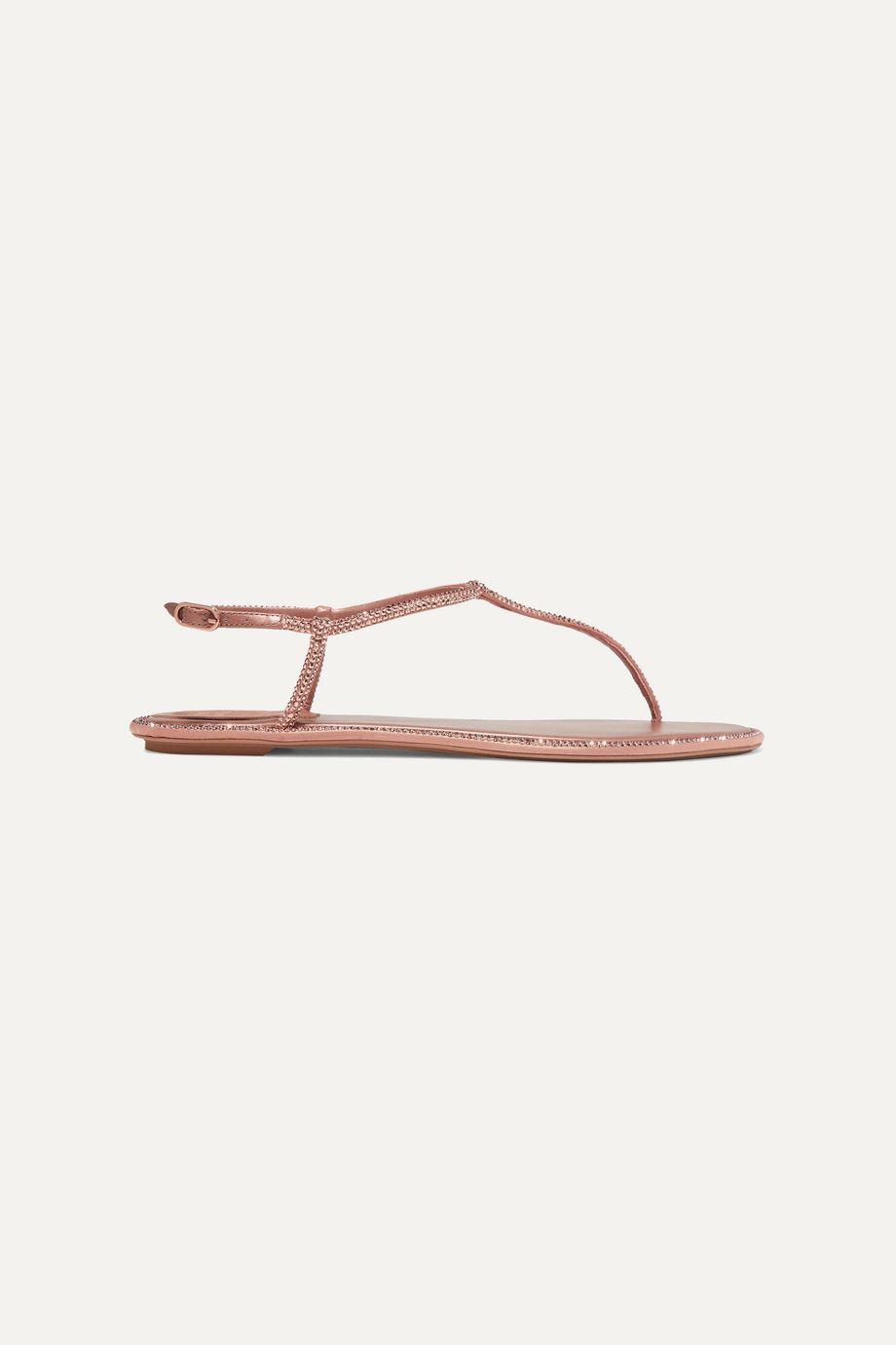 René Caovilla Diana 水晶缀饰皮革缎布凉鞋