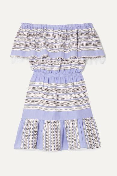 LEMLEM | LemLem - Amira Off-The-Shoulder Frayed Striped Cotton-Gauze Mini Dress - Blue | Goxip