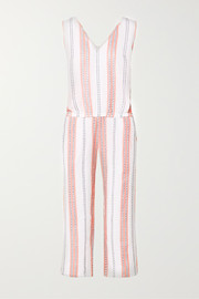 + NET SUSTAIN Zenha cropped striped cotton-blend gauze jumpsuit