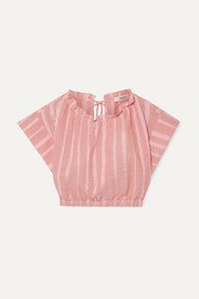LemLem + NET SUSTAIN Taytu cropped striped cotton-blend gauze top