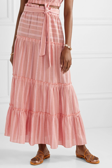 Taytu tiered striped cotton-blend gauze maxi skirt