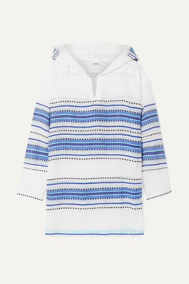 LEMLEM | LemLem - Welela Fringed Striped Cotton-Blend Gauze Hoodie - Blue | Goxip