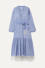 Zinab fringed metallic striped cotton-blend voile robe
