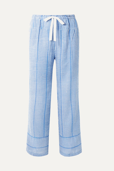 Lemlem Beachwear + NET SUSTAIN Zinab metallic striped cotton-blend voile pants