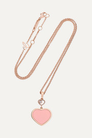 Happy Hearts 18-karat rose gold, diamond and stone necklace