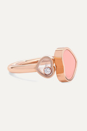 Happy Hearts 18-karat rose gold, diamond and stone ring