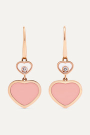 Happy Hearts 18-karat rose gold, diamond and stone earrings