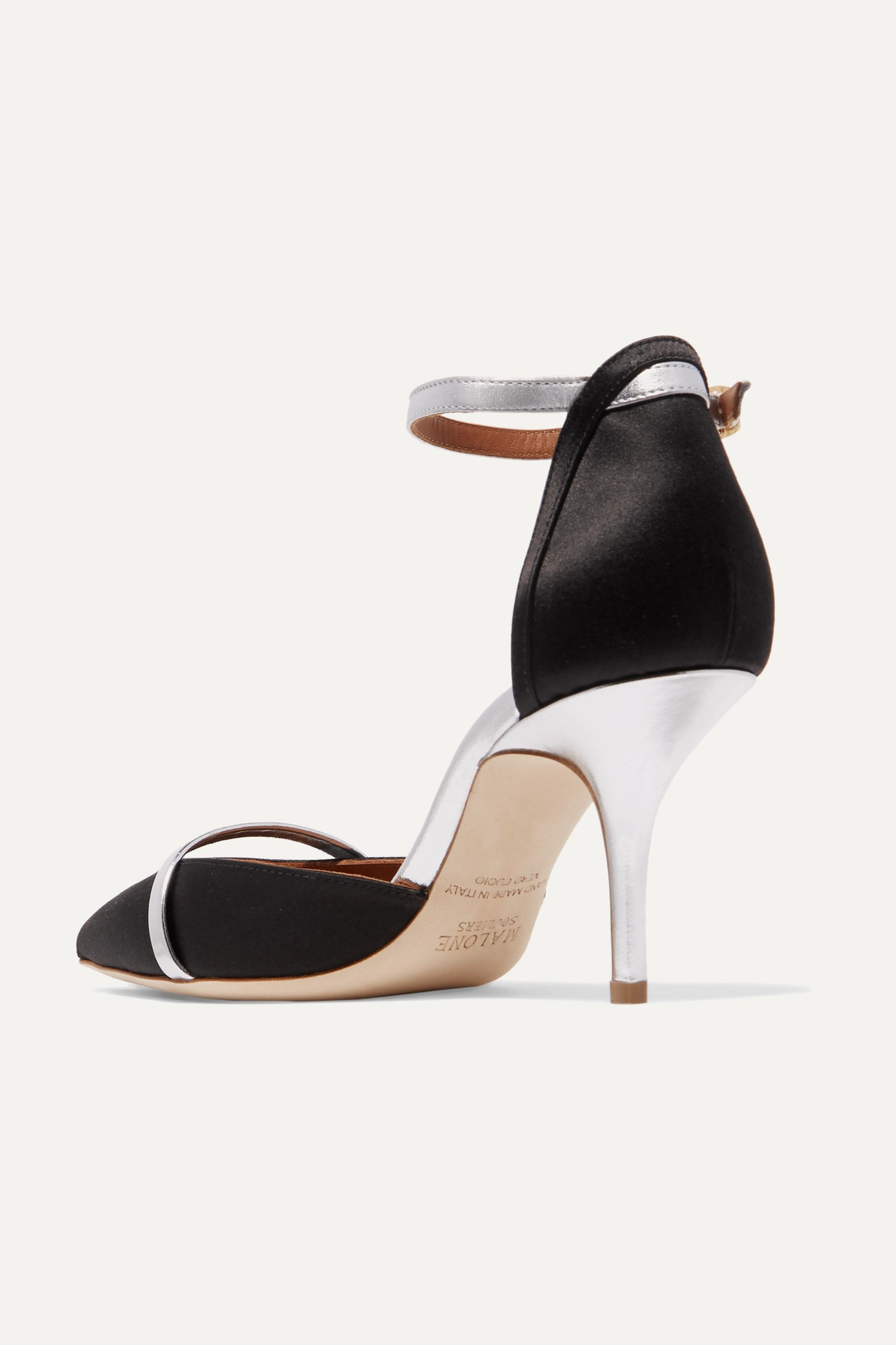 Malone Souliers Booboo 70 metallic leather-trimmed satin pumps