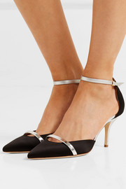 Booboo 70 metallic leather-trimmed satin pumps