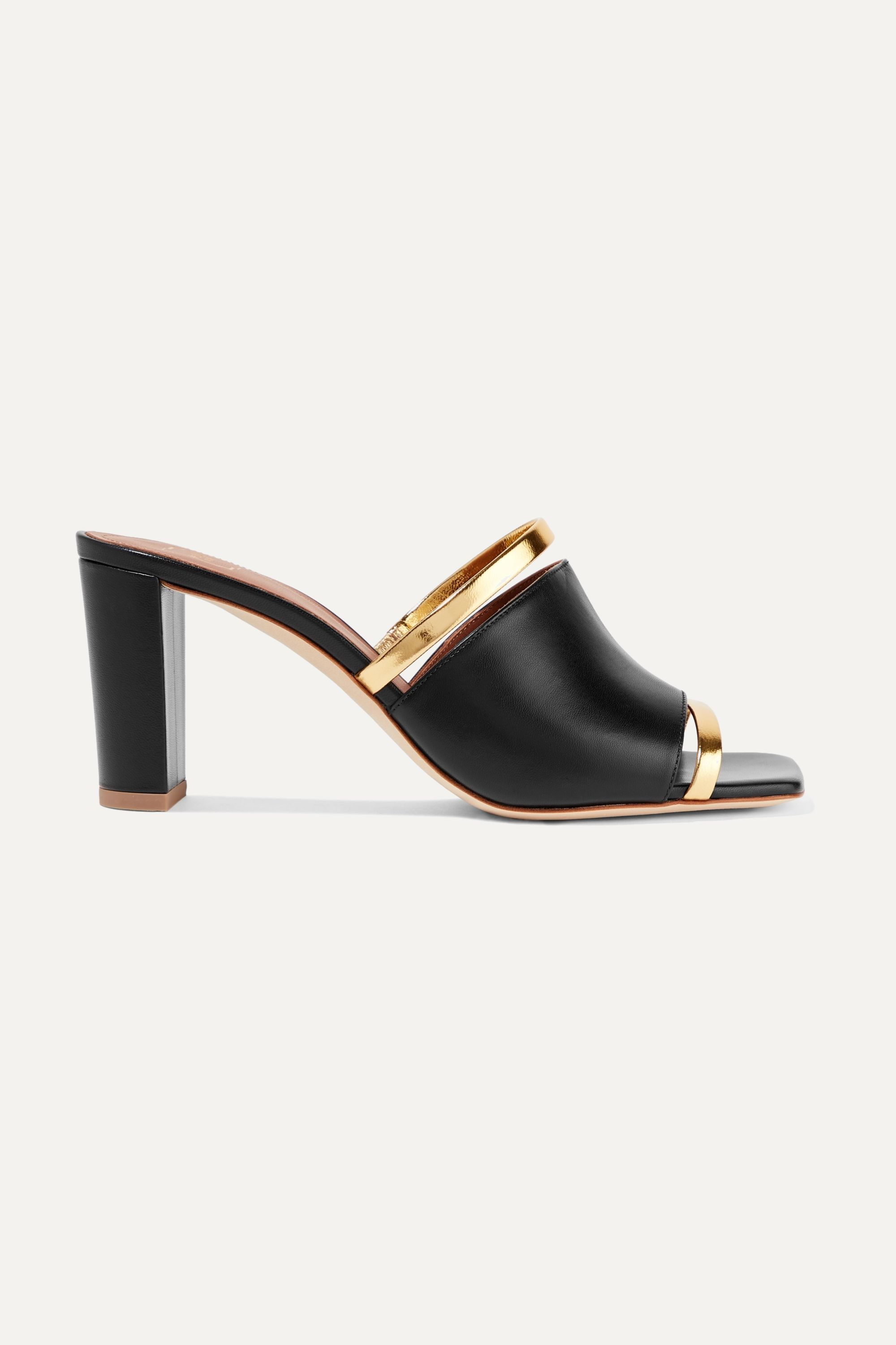 Demi 70 metallic-trimmed leather mules