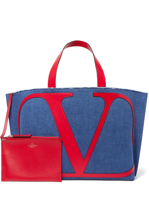 Valentino Valentino Garavani VLOGO Escape large leather-trimmed denim tote