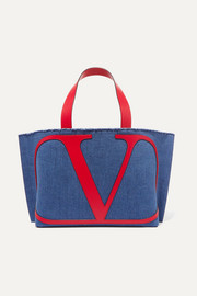 Valentino Garavani VLOGO Escape small leather-trimmed denim tote
