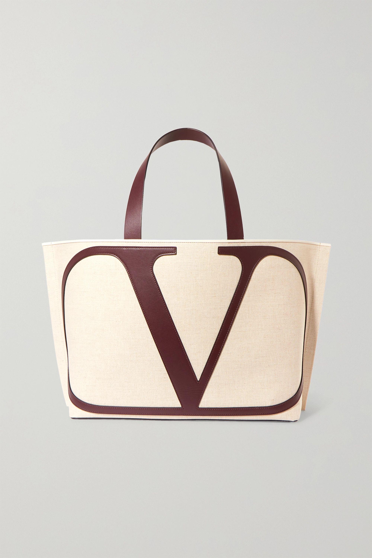 Valentino Valentino Garavani VLOGO Escape large leather-trimmed canvas tote