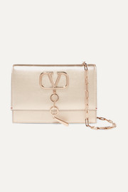 Valentino Garavani VCASE small metallic leather shoulder bag
