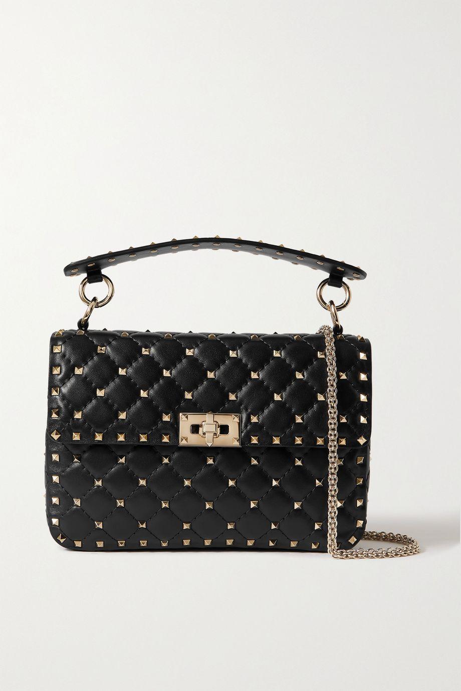 Valentino Valentino Garavani Rockstud Spike small quilted cracked-leather shoulder bag