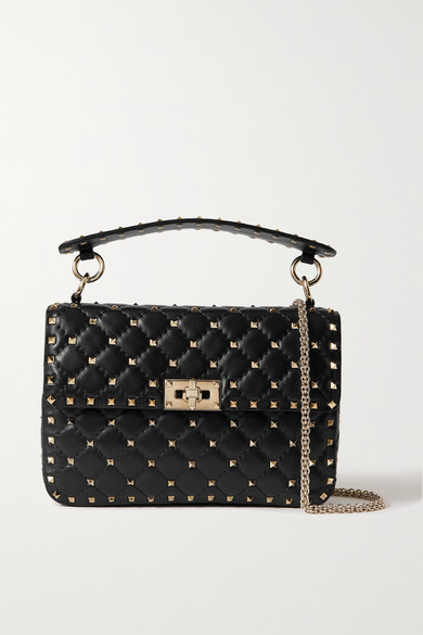 3884c9eb5ac Valentino. Valentino Garavani The Rockstud Spike small quilted cracked-leather  shoulder bag