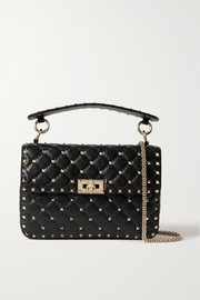 Valentino Garavani The Rockstud Spike small quilted cracked-leather shoulder bag