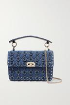 43de9c1261e08 Valentino Valentino Garavani The Rockstud Spike medium embellished quilted  denim shoulder bag