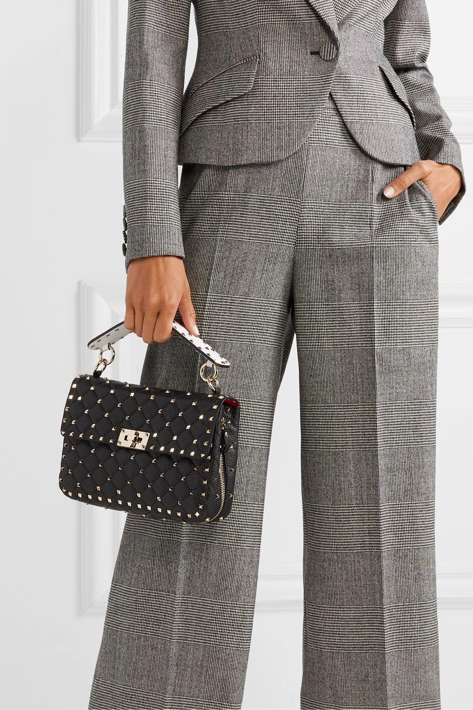 Valentino Valentino Garavani Rockstud Spike medium quilted textured-leather shoulder bag