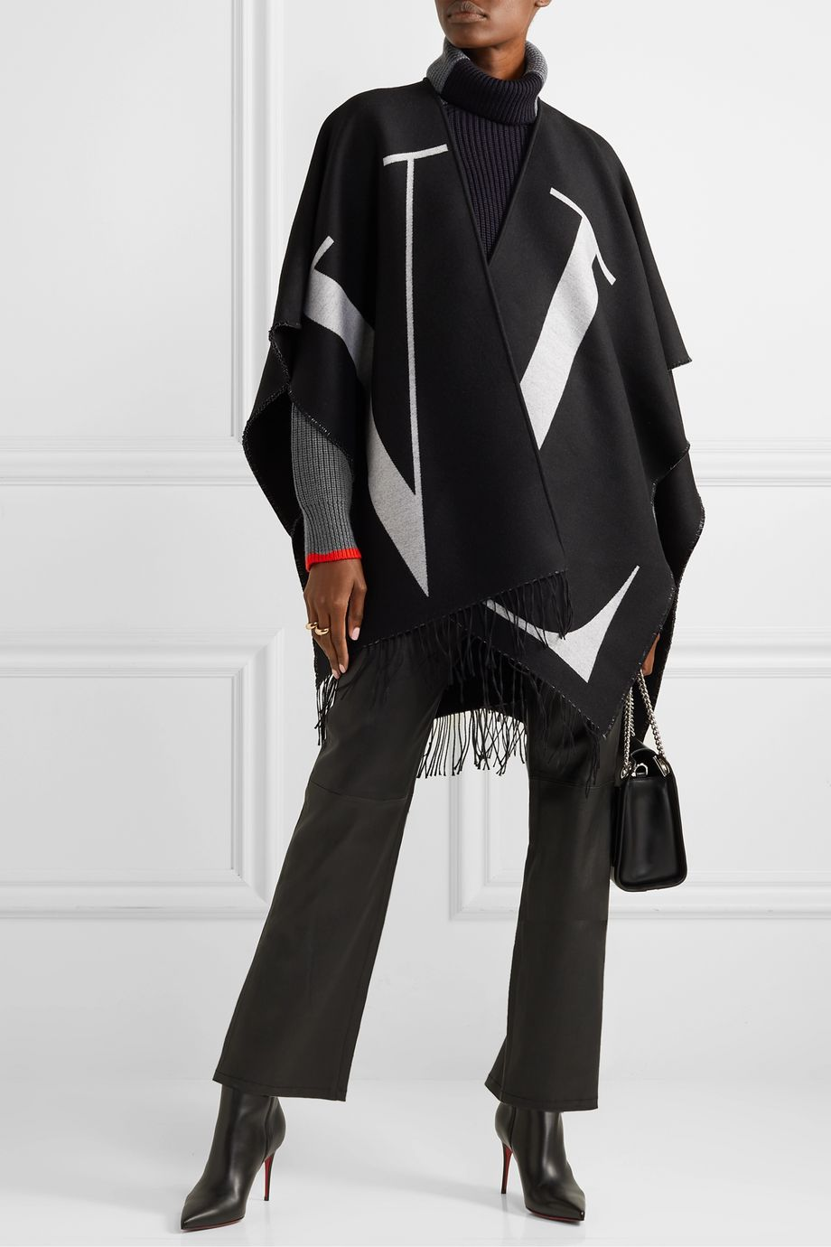 Valentino Fringed wool and silk-blend jacquard wrap