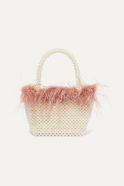 Mina small feather-trimmed faux pearl tote