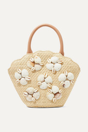 Aria leather-trimmed shell-embellished woven straw tote