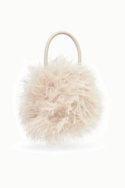Zadie feather-embellished leather tote