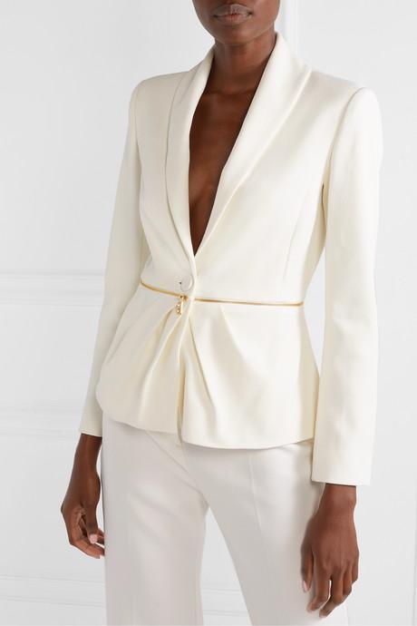 Zip-embellished pleated twill blazer