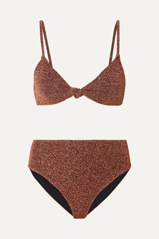 Caroline Constas Marta and Mykela twist-front stretch-Lurex bikini