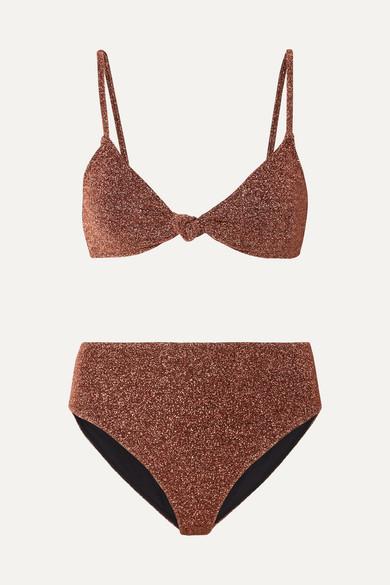 Marta And Mykela Twist Front Stretch Lurex Bikini by Caroline Constas
