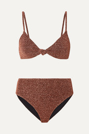 Caroline Constas Marta and Mykela twist-front stretch-Lurex bikini