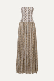 Caroline Constas Snake-print cotton and silk-blend maxi dress
