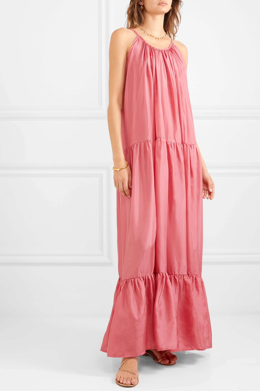 Kalita Genevieve gathered tiered silk-habotai maxi dress