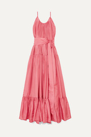 Kalita Genevieve gathered tiered silk-habotai maxi dress