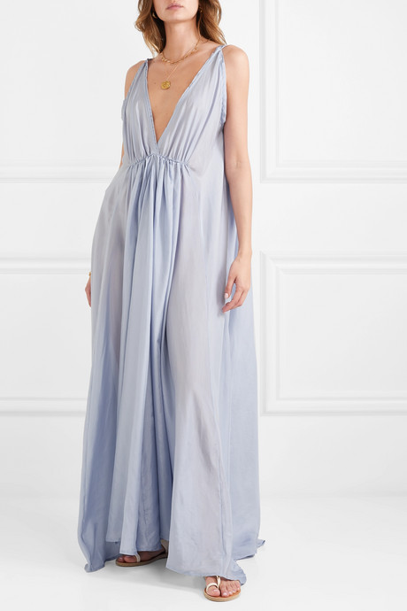 Clemence gathered silk-habotai maxi dress