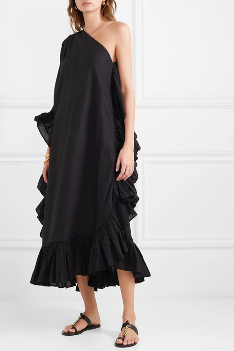 Zahara one-shoulder ruffled cotton-voile maxi dress