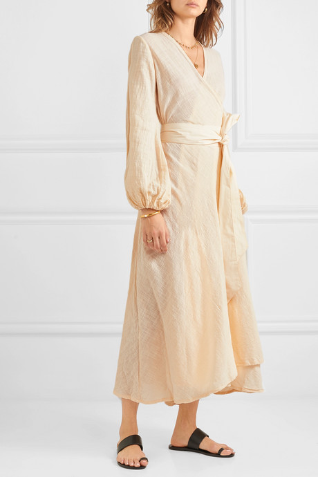 Gaia cotton-gauze wrap maxi dress