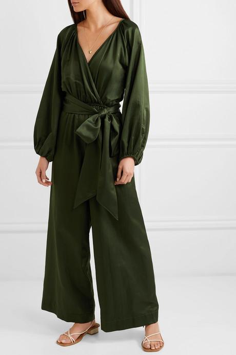 Venus cotton and silk-blend habotai jumpsuit